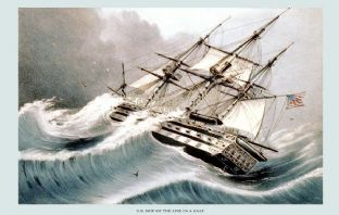 U. S. Ship of the Line in a Gale